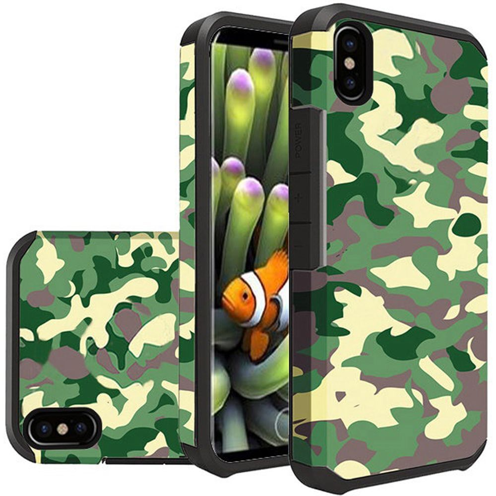 Apple iPhone X Shockproof Case, Rubberized Slim Dual layer Hybrid Hard Case on TPU [Camouflage Green]