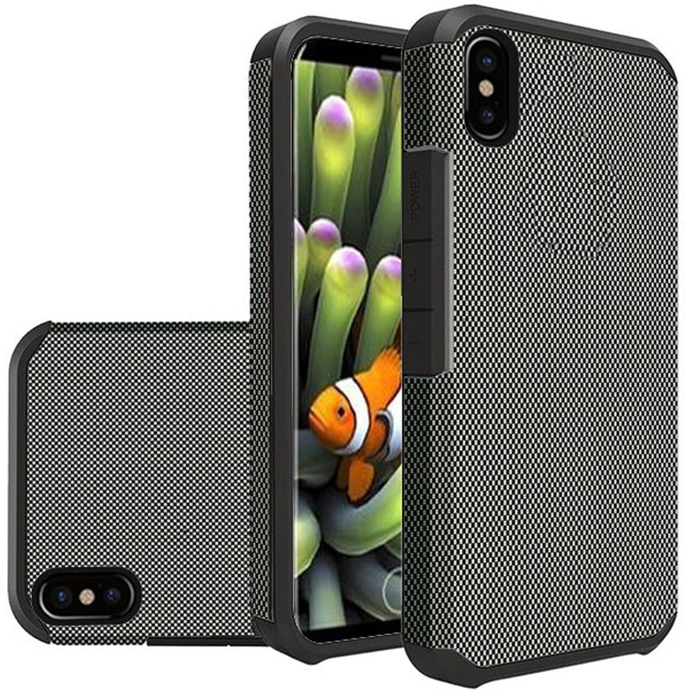 Apple iPhone X Shockproof Case, Rubberized Slim Dual layer Hybrid Hard Case on TPU [Carbon Fiber Design]