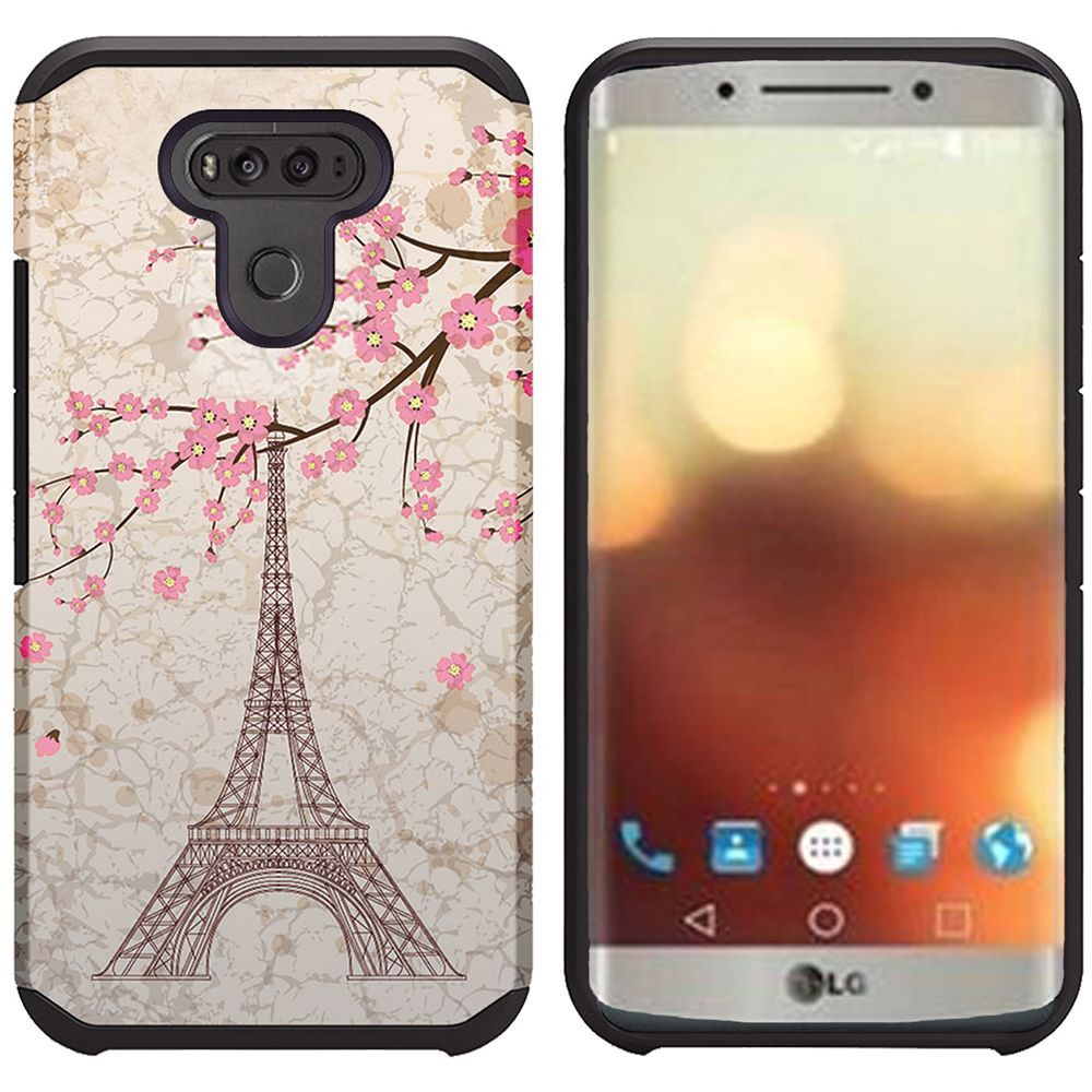 LG G6 Shockproof Case, Rubberized Slim Dual layer Hybrid Hard Case on TPU Case [White Vintage Eiffel Tower Paris] with Travel Wallet Phone Stand