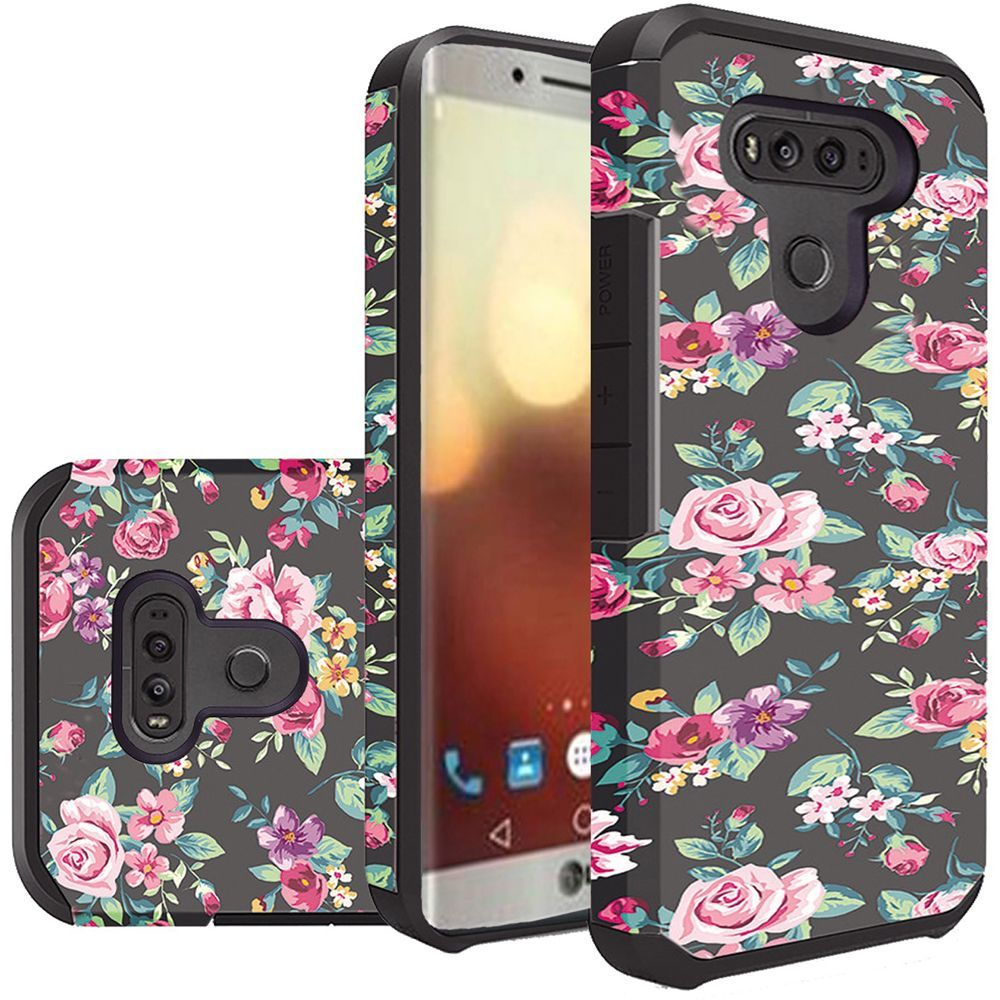 LG G6 Shockproof Case, Rubberized Slim Dual layer Hybrid Hard Case on TPU Case [Tropical Romantic Colorful Roses] with Travel Wallet Phone Stand