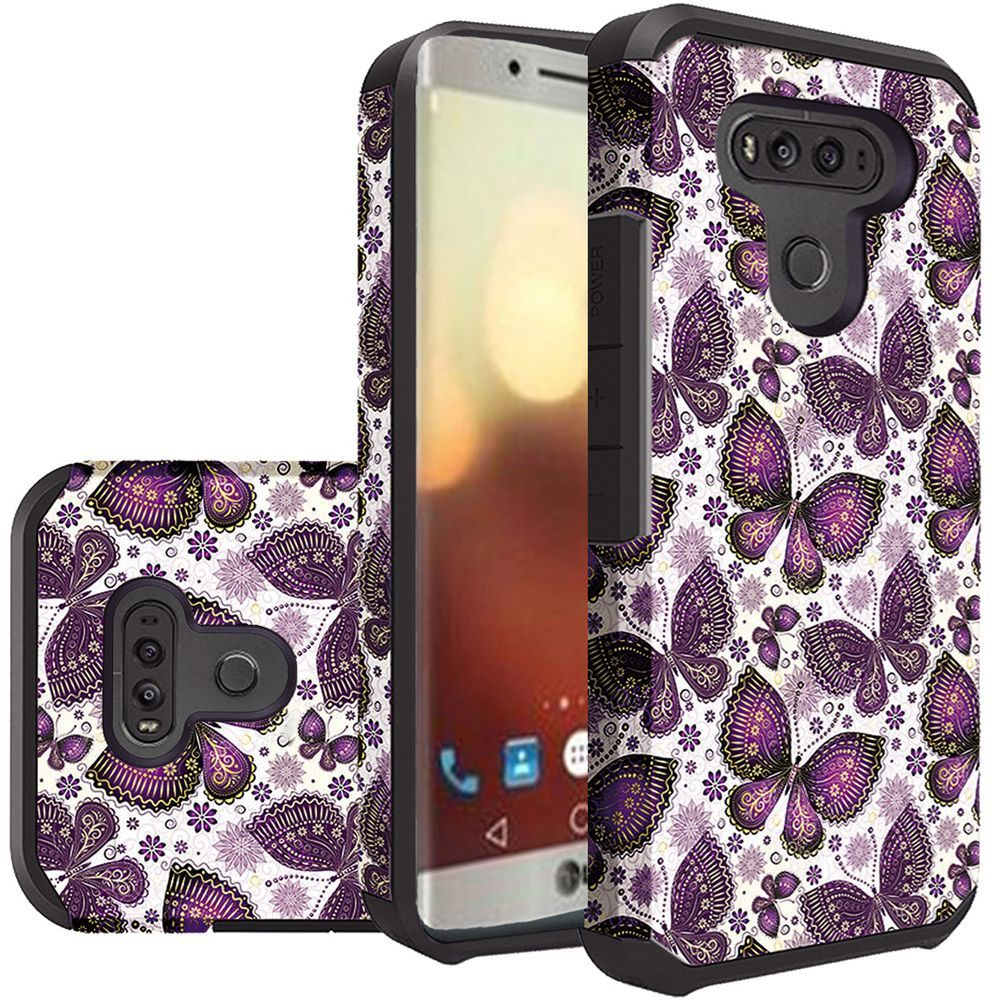 LG G6 Shockproof Case, Rubberized Slim Dual layer Hybrid Hard Case on TPU Case [Violet Butterfly Flower Polka Dots Mandala] with Travel Wallet Phone Stand