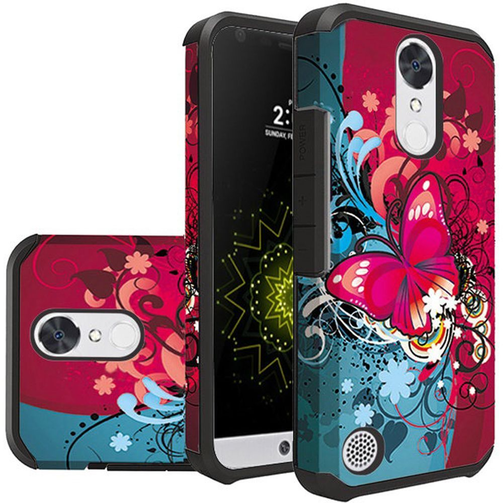LG K20 Plus/ LG K20 V Case, Rubberized Slim Dual layer Hybrid Hard Case on TPU Case [Butterfly Bliss] with Travel Wallet Phone Stand
