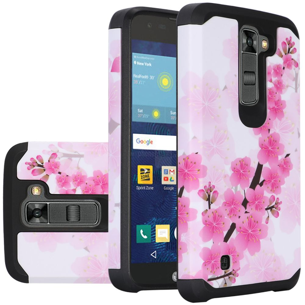 LG K7/ Tribute 5 Case, Rubberized Slim Dual layer Hybrid Hard Case on TPU Case [Sakura Cherry Blossom]