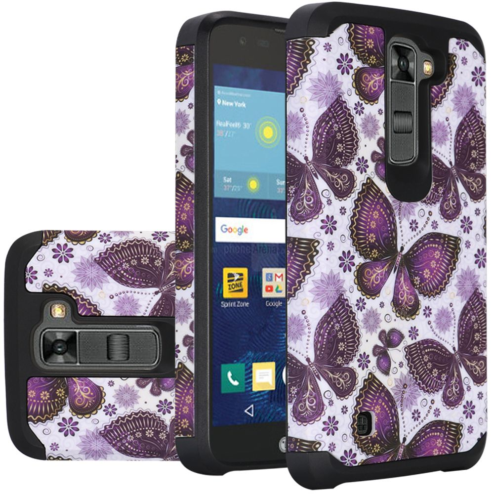 LG K7/ Tribute 5 Case, Rubberized Slim Dual layer Hybrid Hard Case on TPU Case [Violet Butterfly Flower Polka Dots Mandala]