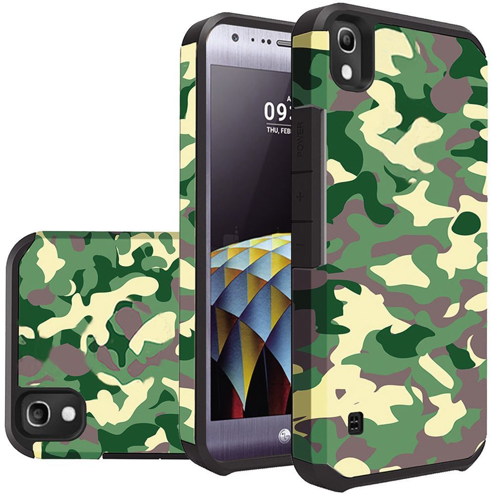 LG Tribute HD Case, Rubberized Slim Dual layer Hybrid Hard Case on TPU Case [Camouflage Green]