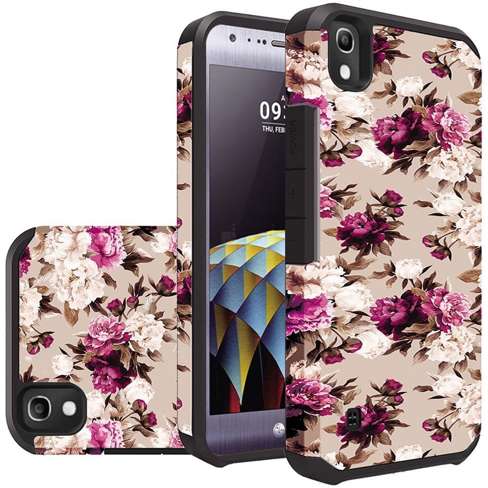 LG Tribute HD Case, Rubberized Slim Dual layer Hybrid Hard Case on TPU Case [Pink White Roses Floral]