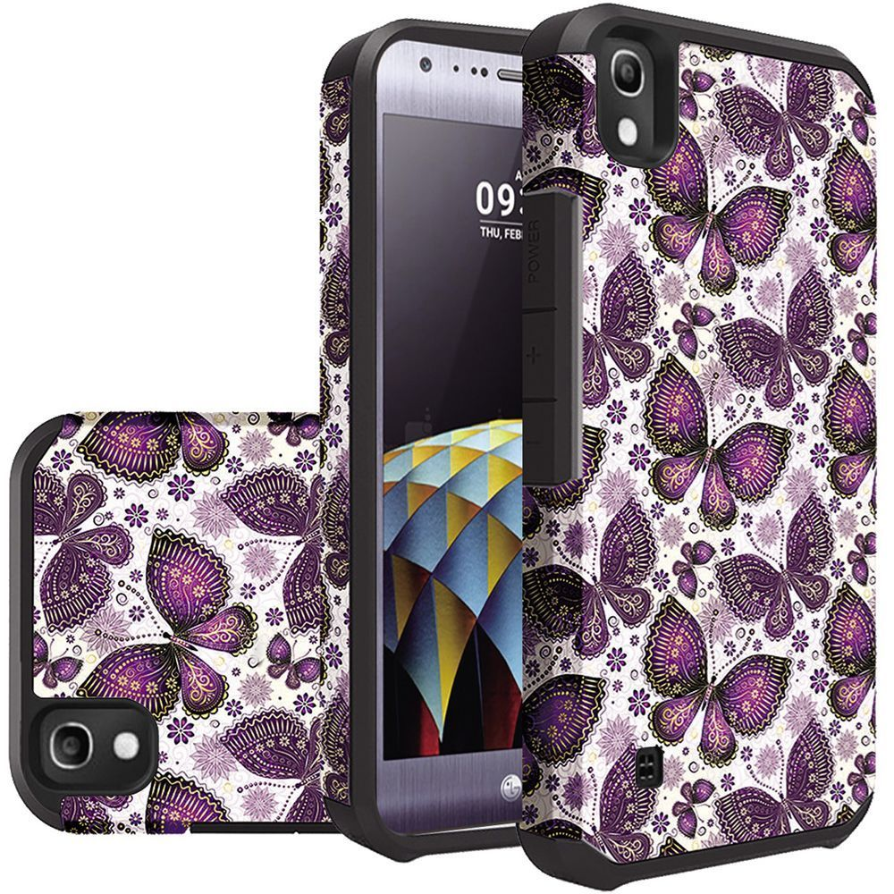 LG Tribute HD Case, Rubberized Slim Dual layer Hybrid Hard Case on TPU Case [Violet Butterfly Flower Polka Dots Mandala]