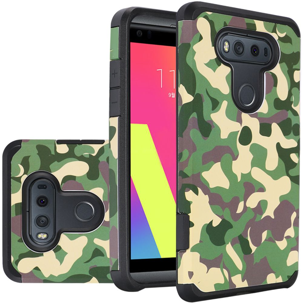 LG V20 Case, Rubberized Slim Dual layer Hybrid Hard Case on TPU Case [Camouflage Green]