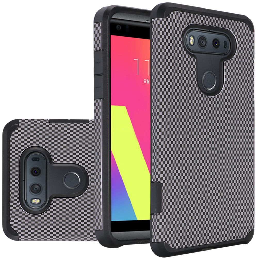 LG V20 Case, Rubberized Slim Dual layer Hybrid Hard Case on TPU Case [Carbon Fiber Design]