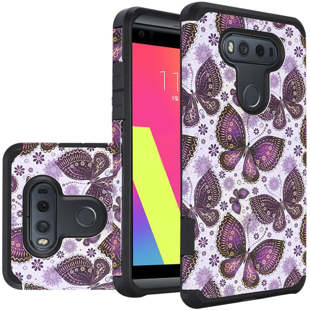 LG V20 Case, Rubberized Slim Dual layer Hybrid Hard Case on TPU Case [Violet Butterfly Flower Polka Dots Mandala]