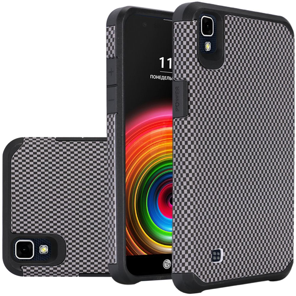 LG X Power Case, Rubberized Slim Dual layer Hybrid Hard Case on TPU Case [Carbon Fiber Design]