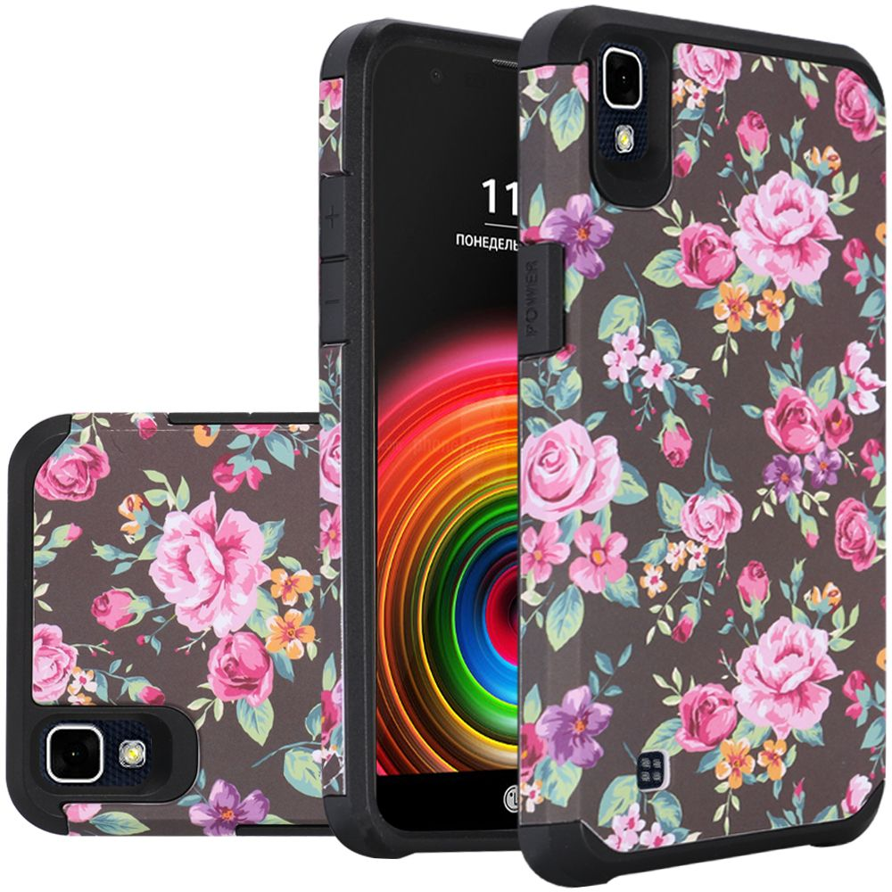 LG X Power Case, Rubberized Slim Dual layer Hybrid Hard Case on TPU Case [Tropical Romantic Colorful Roses]