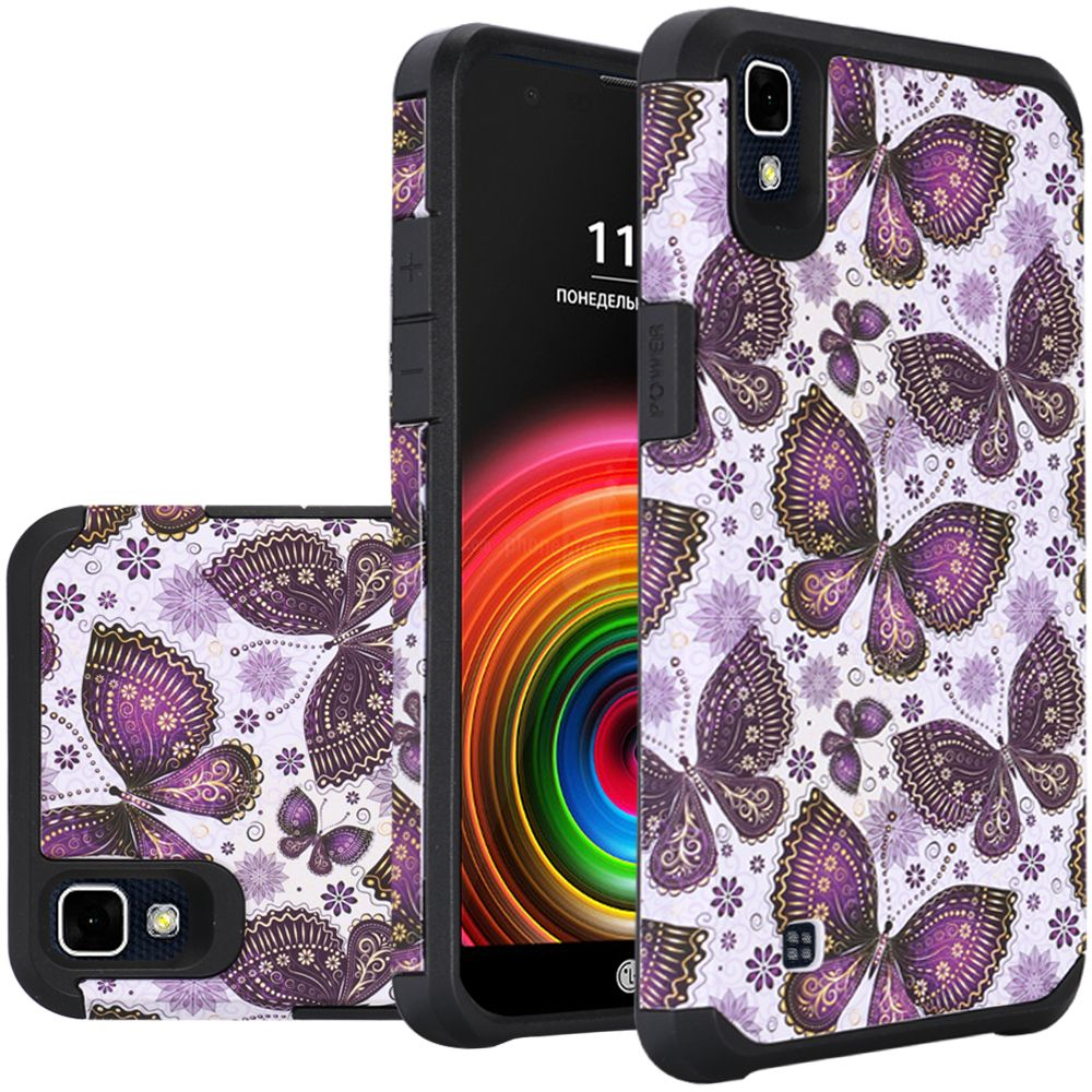 LG X Power Case, Rubberized Slim Dual layer Hybrid Hard Case on TPU Case [Violet Butterfly Flower Polka Dots Mandala]