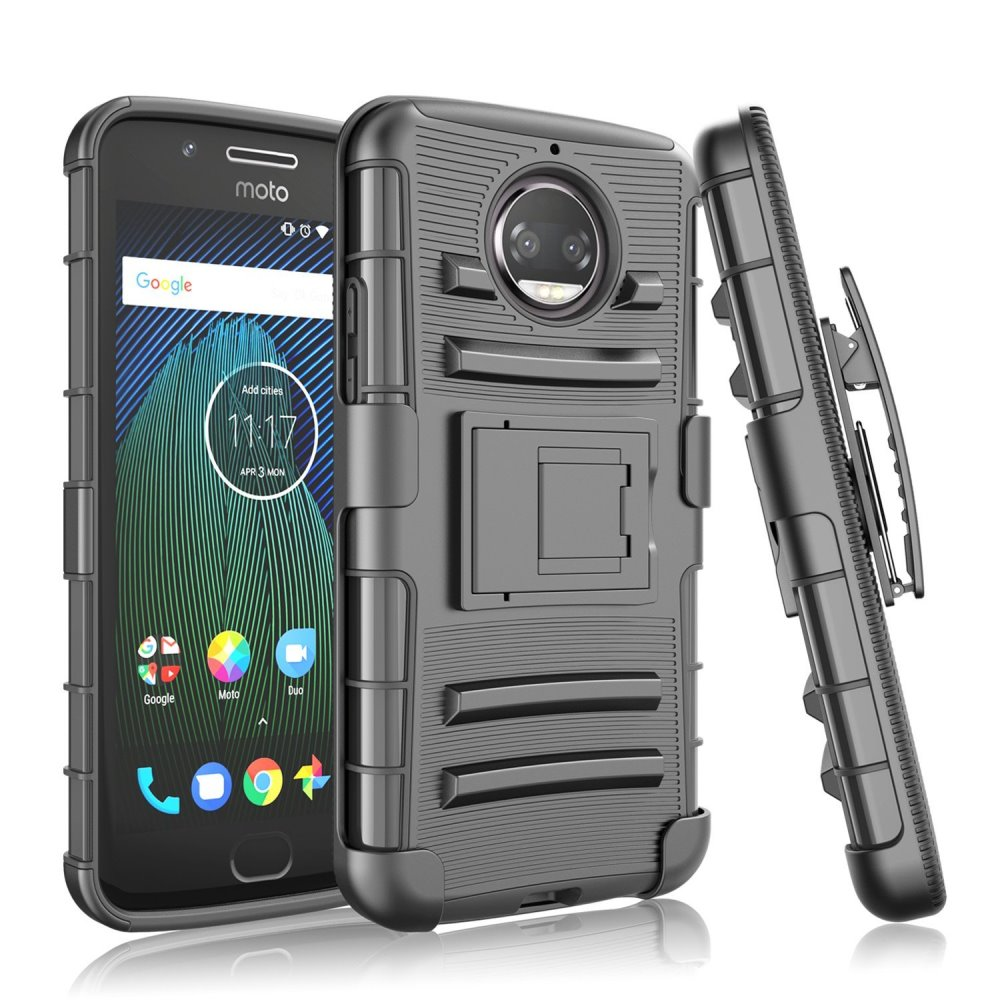 Motorola Moto G5S Plus (Will NOT fit Moto G5 Plus) Holster Case, [Black] Dual Layer Hard Case w/ Kickstand on [Black] Silicone Skin Case w/ Holster