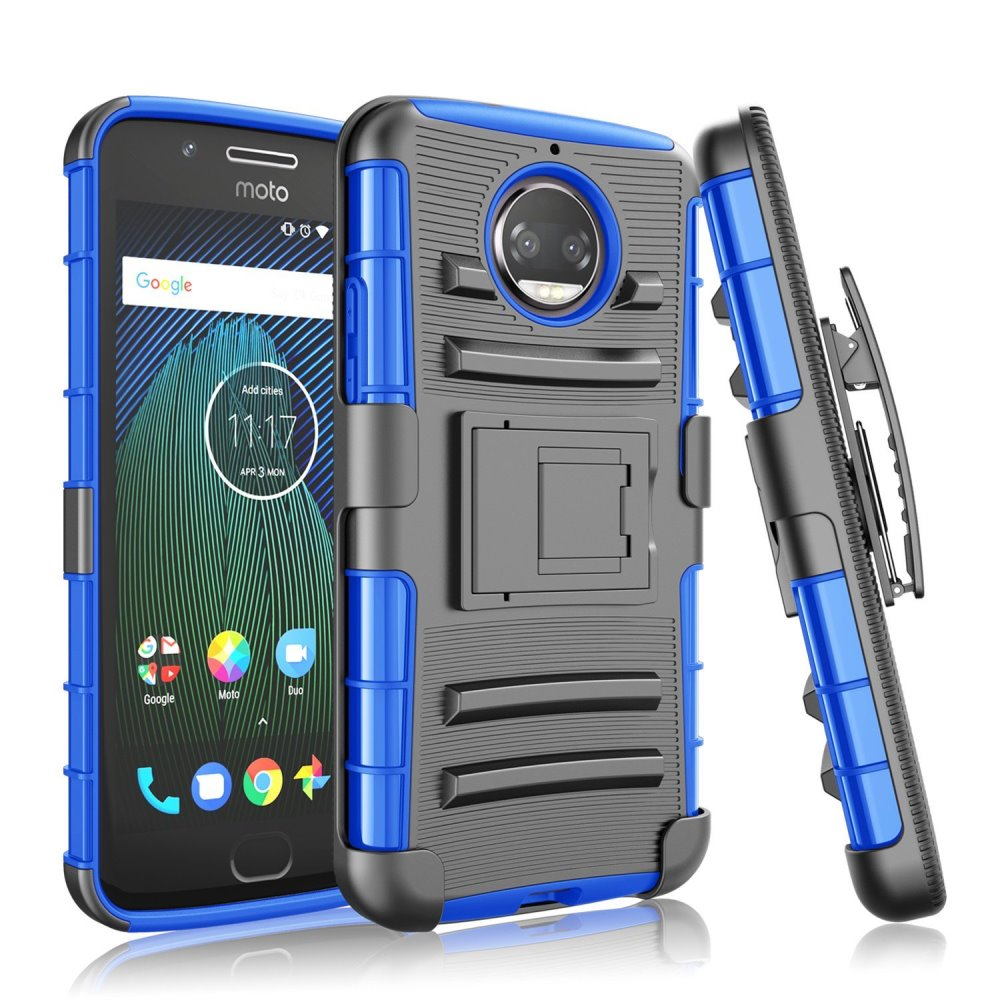 Motorola Moto G5S Plus (Will NOT fit Moto G5 Plus) Holster Case, [Black] Dual Layer Hard Case w/ Kickstand on [Blue] Silicone Skin Case w/ Holster