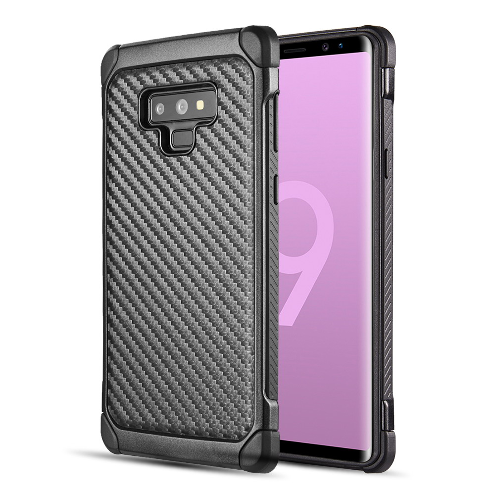 Samsung Galaxy Note 9 Hybrid Case  Tough Hybrid Case [Black TPU] + [Black] Hard Cover W/ Carbon Fiber Design