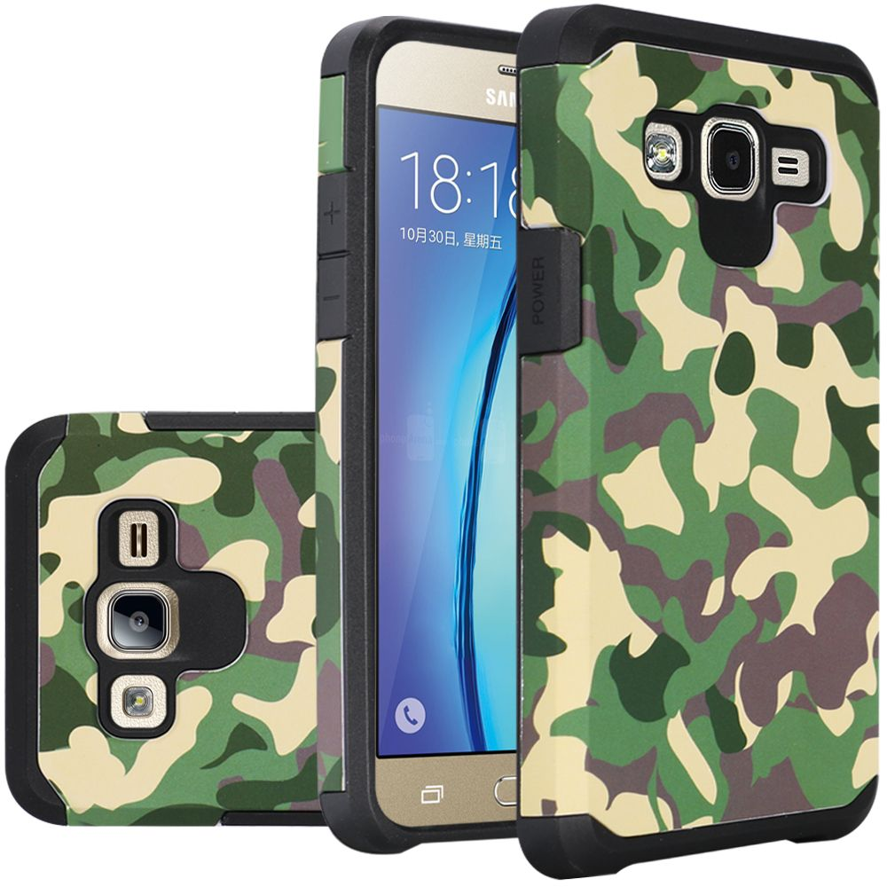 Samsung Galaxy On5 Case, Rubberized Slim Dual layer Hybrid Hard Case on TPU Case [Camouflage Green]