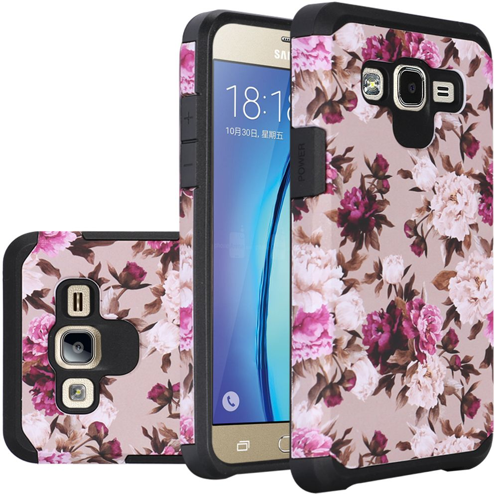 Samsung Galaxy On5 Case, Rubberized Slim Dual layer Hybrid Hard Case on TPU Case [Pink White Roses Floral]