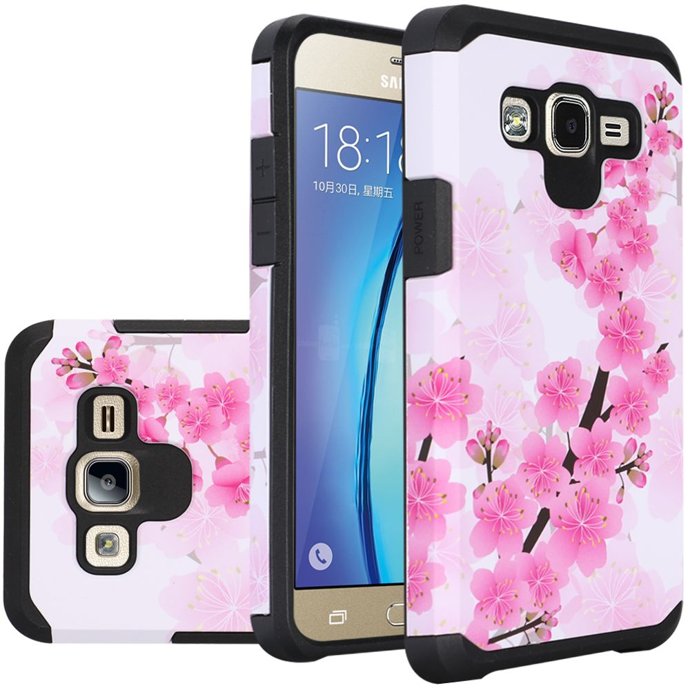 Samsung Galaxy On5 Case, Rubberized Slim Dual layer Hybrid Hard Case on TPU Case [Sakura Cherry Blossom]