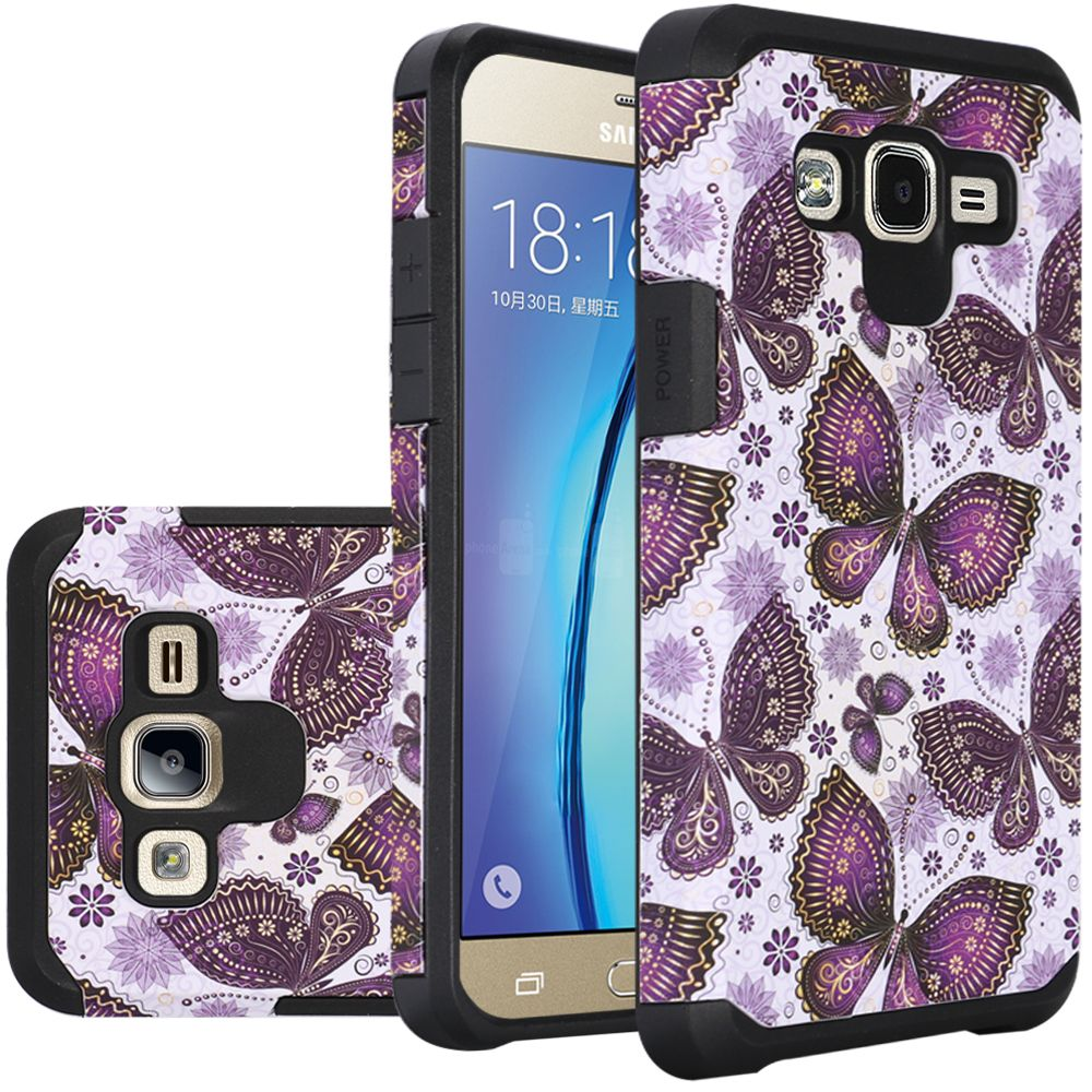 Samsung Galaxy On5 Case, Rubberized Slim Dual layer Hybrid Hard Case on TPU Case [Violet Butterfly Flower Polka Dots Mandala]
