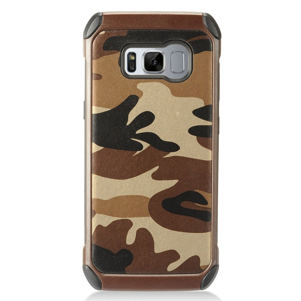 Samsung Galaxy S8 Shockproof Case, Rubberized Slim Dual layer Hybrid Hard Case on TPU Case [Brown Camouflage] with Travel Wallet Phone Stand