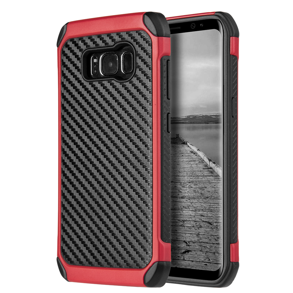 Samsung Galaxy S8 Hybrid Case, Tough Hybrid Case [Black TPU] + [Red] Hard Cover W/ Carbon Fiber Design with Travel Wallet Phone Stand