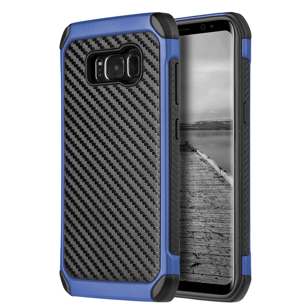 Samsung Galaxy S8 Plus Hybrid Case, Tough Hybrid Case [Black TPU] + [Blue] Hard Cover W/ Carbon Fiber Design with Travel Wallet Phone Stand