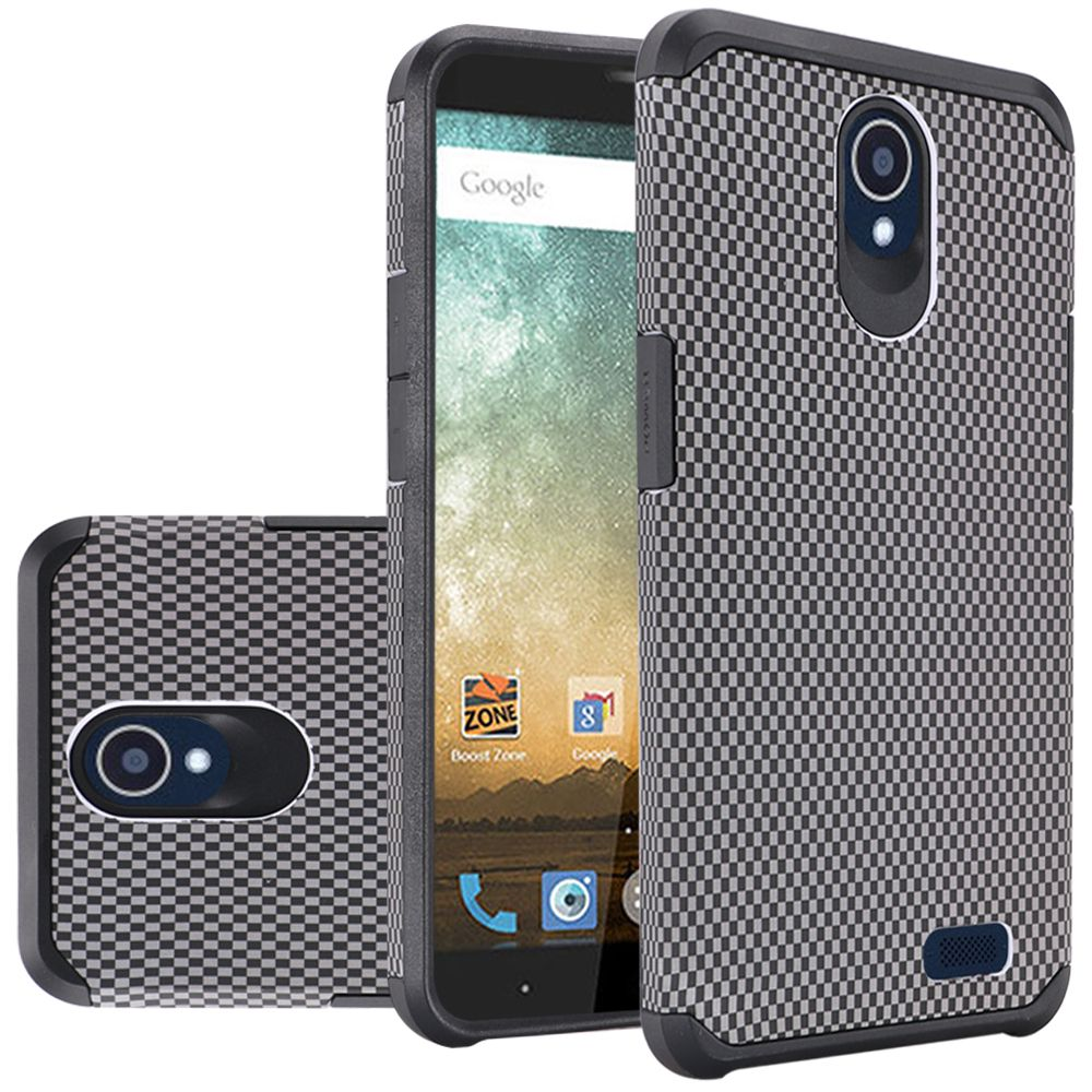 ZTE Avid Trio Case, Rubberized Slim Dual layer Hybrid Hard Case on TPU Case [Carbon Fiber Design] with Travel Wallet Phone Stand