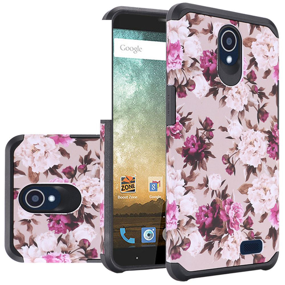 ZTE Avid Trio Case, Rubberized Slim Dual layer Hybrid Hard Case on TPU Case [Pink White Roses Floral] with Travel Wallet Phone Stand