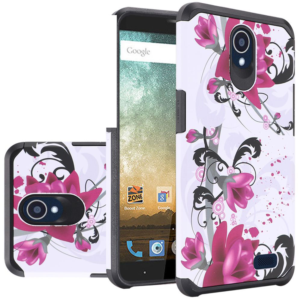 ZTE Avid Trio Case, Rubberized Slim Dual layer Hybrid Hard Case on TPU Case [Purple Lily] with Travel Wallet Phone Stand