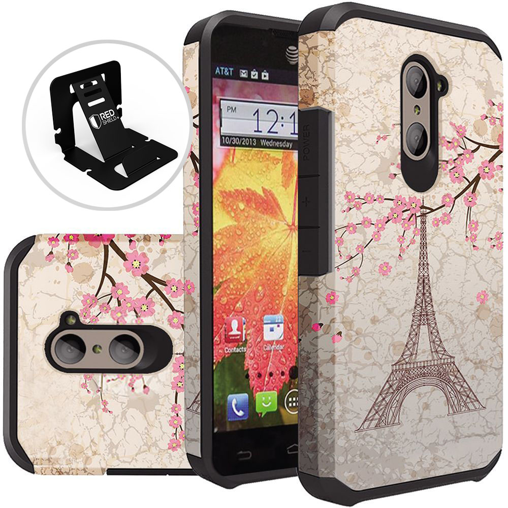ZTE Z Max Pro Case, Rubberized Slim Dual layer Hybrid Hard Case on TPU Case [White Vintage Eiffel Tower Paris] with Travel Wallet Phone Stand