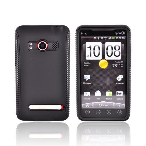 HTC EVO 4G Hard Back Over Crystal Silicone Case - Black