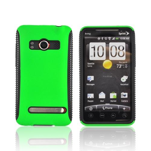 HTC EVO 4G Hard Back Over Crystal Silicone Case - Black/Neon Green