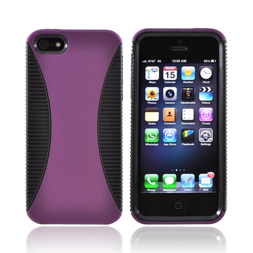 Apple iPhone SE / 5 / 5S  Case,  [Purple/ Black]  Hard Back Over Crystal Silicone Case