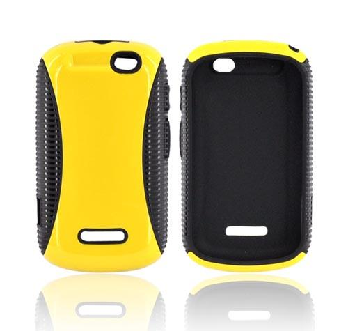 Motorola Clutch+ i475 Hard Back Over Crystal Silicone Case - Yellow/ Black