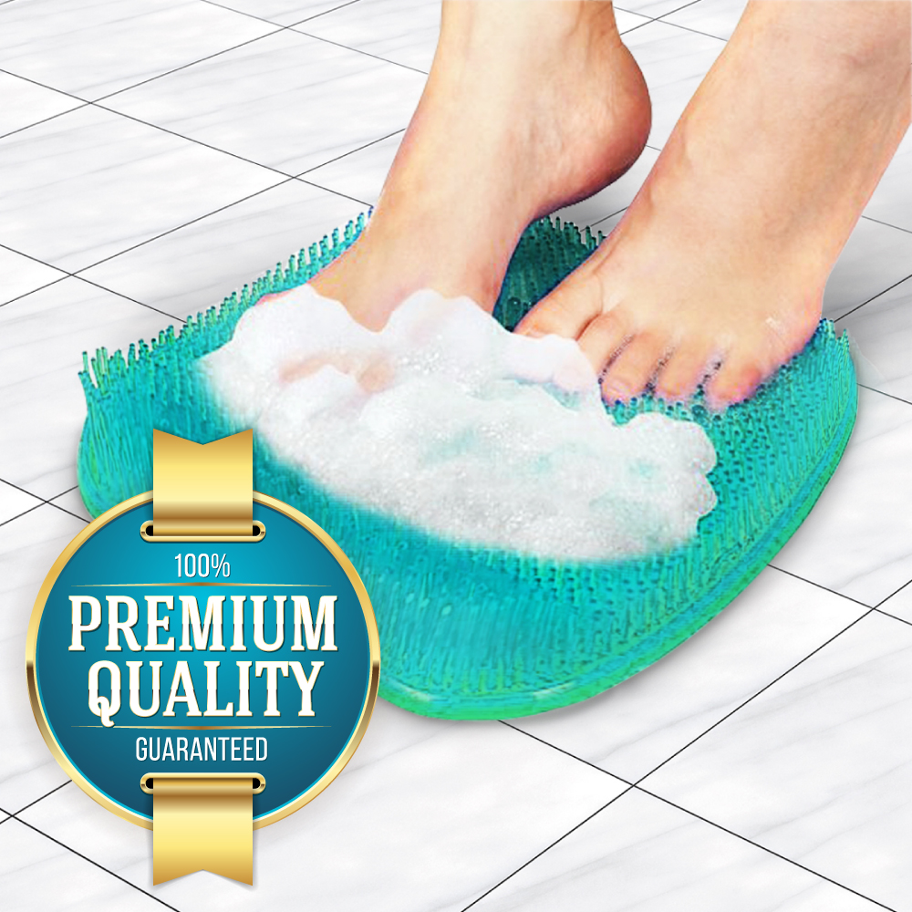 Eutuxia Foot Massager, Scrubber, and Cleaner Pad for Shower Floors & Bathtubs. Exfoliate while Improving Blood Circulation & Reducing Pain on Your Feet. Anti-Slip with 128 Suction Cups. Hangable.