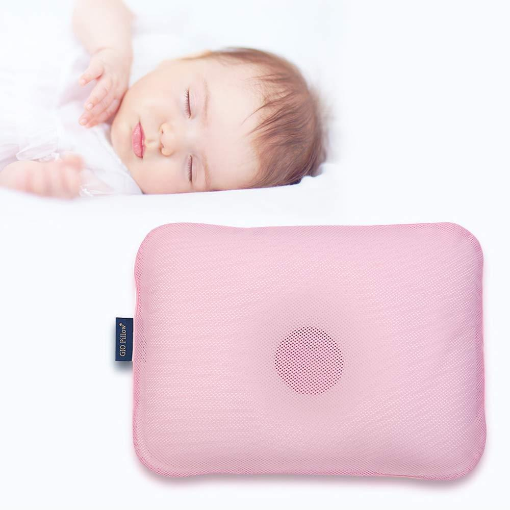 Gio Pillow 3D Air Mesh Baby Pillow, Head Shaping Pillow, Flat Head Syndrome Prevention [Emerald Pink/Medium]