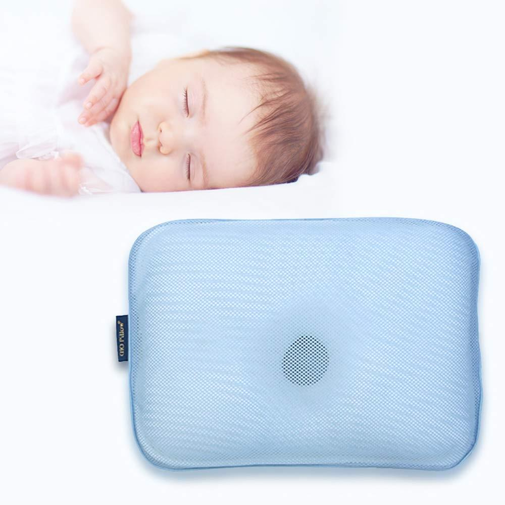 Gio Pillow 3D Air Mesh Baby Pillow, Head Shaping Pillow, Flat Head Syndrome Prevention [Ice Blue/Small]