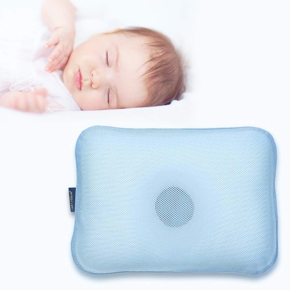Gio Pillow 3D Air Mesh Baby Pillow, Head Shaping Pillow, Flat Head Syndrome Prevention [Ice Blue/Medium]