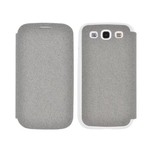 Geeks Protection Line (GPL) Snazzy Samsung Galaxy S3 Diary Flip Cover Hard Case w/ Card Slot - Gray/ White