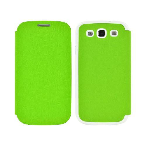 Geeks Protection Line (GPL) Snazzy Samsung Galaxy S3 Leather Diary Flip Cover Hard Case w/ Card Slot - Neon Green/ White