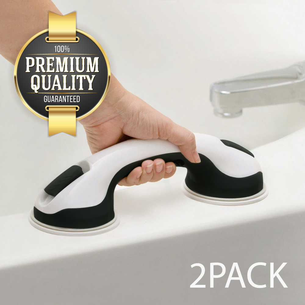 Eutuxia Shower Suction Cup Handle Grip. Balance Assist Grab Bar, Hand Rail Support for Elderly, Babies, Seniors & Handicapped. Safety in Showers & Bathtubs. Anti-Slip. New Improved Suction Cup. [2 PK]