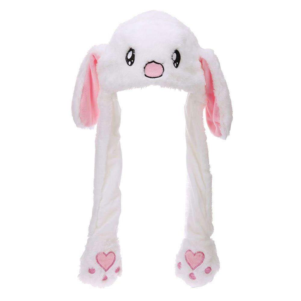 Eutuxia Rabbit Hat with Moving Ears, Funny Soft Plush Moveable Bunny Cap [White]