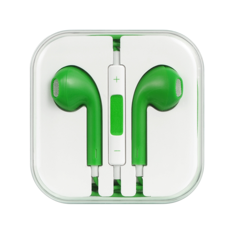 Universal Stereo Headphones [3.5mm] Hands Free w/ Mic [Green]