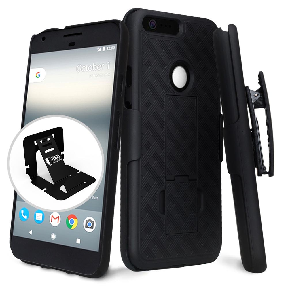 Google Pixel XL Case, [Black] Supreme Protection Slim Matte Rubberized Hard Plastic Case Cover with Kickstand and Swivel Belt Clip with Travel Wallet Phone Stand