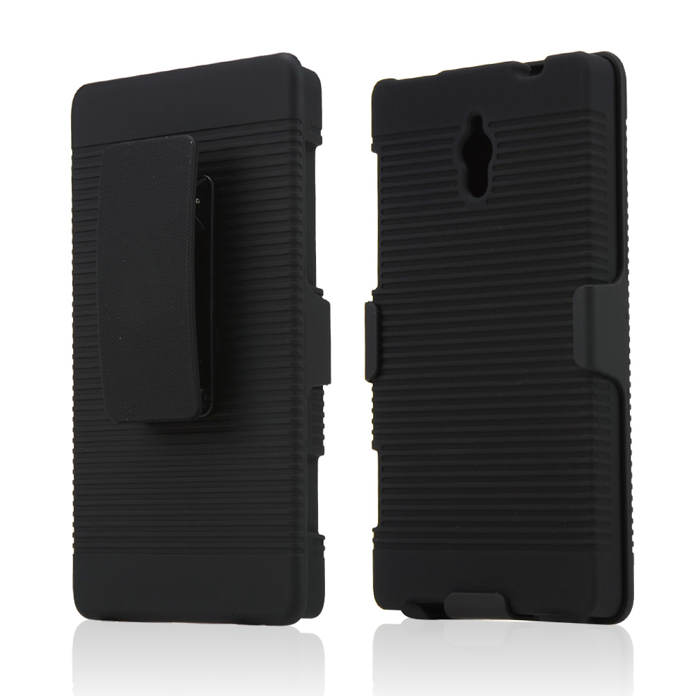 Black Rubberized Hard Case & Holster Combo w/ Kickstand & Swivel Belt Clip for HTC 8XT