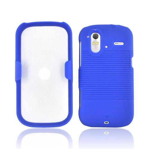 HTC Amaze 4G Rubberized Hard Case w/ Holster Stand - Blue