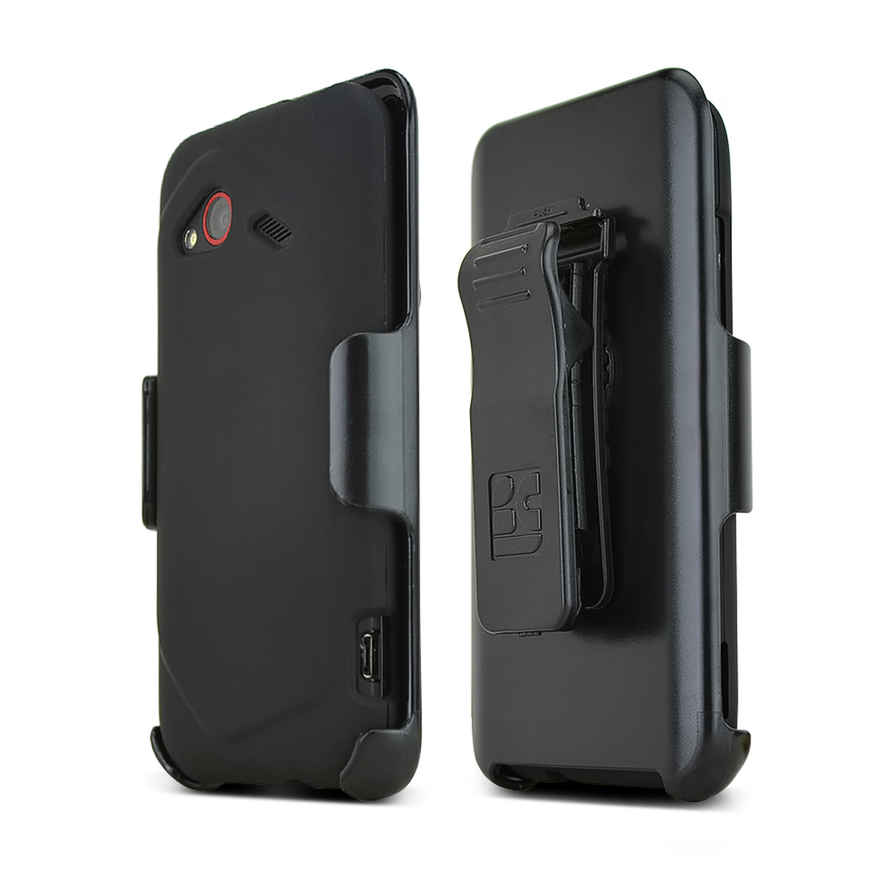 HTC Droid Incredible 4G LTE Rubberized Hard Case w/ Holster Stand & Belt Clip - Textured Black