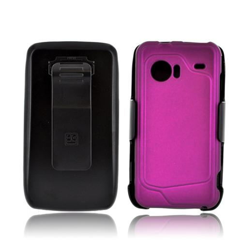HTC Droid Incredible Rubberized Hard Case & Holster Combo w/ Screen Protector, Belt Clip & Stand - Purple/ Black