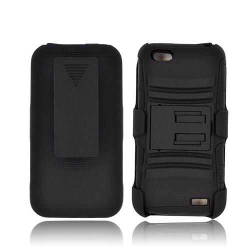 HTC One V Rubberized Hard Cover Over Silicone Case w/ Stand & Holster Stand w/ Swivel Belt Clip - Black